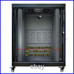 22U 35'' Depth Rack Cabinet IT Server Enclosure Premium Series with Accessories
