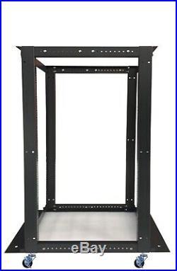 22U Open Frame Server Cabinet 4 Post IT Network Data Rack Enclosure on Casters
