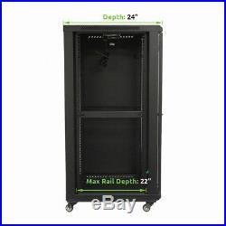 22U Wall Mount Network Server Cabinet Rack Enclosure Glass Door Lock 600MM Deep