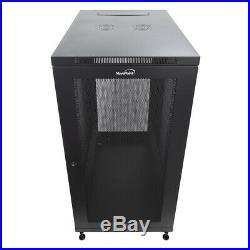 24U Server Data Cabinet Rack Enclosure Mid Depth 33 Deep Perforated Door Lock