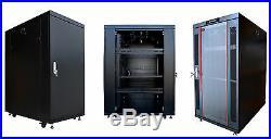 27U 35 Deep 19 IT Free Standing Server Rack Cabinet Enclosure + Bonus Free