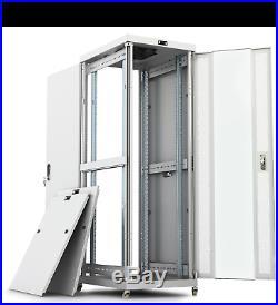 32U 35'' Depth Server Rack IT Data Network Enclosure Rack Cabinet Light Gray