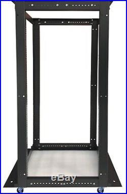 32U Open Frame Server Cabinet 4 Post IT Network Data Rack Enclosure on Casters