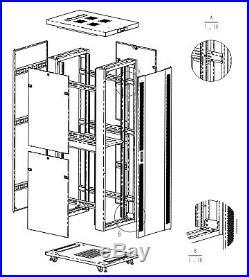 42U 35 Deep IT Data Free Standing Server Rack Cabinet Enclosure Nice Light Grey