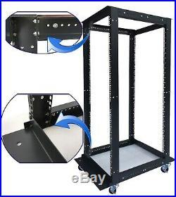 42U Open Frame Server Cabinet 4 Post IT Network Data Rack Enclosure on Casters