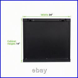 6U IT Wall Mount Network Server Cabinet Rack Enclosure Glass Door Lock withshelf