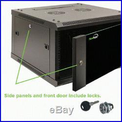 6U Wall Mount 19 Server 600mm Cabinet Rack Enclosure Glass Door Lock WithShelf