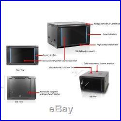 6U Wall Mount Network Data Server Cabinet Enclosure Rack Vented Glass Door Lock