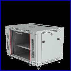 6U Wall Mount Server Rack 24 Deep Cabinet Enclosure Glass Doors Vented Shelf