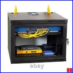 8U 19 Wall Mount Rack Network Server Data Cabinet Enclosure Door Lock 20 Deep
