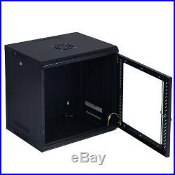 9U IT Network Server Data Cabinet Enclosure Rack Glass Door Locking Wall Mount