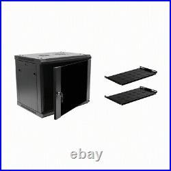 9U IT Wall Mount Network Server Cabinet Rack Enclosure Glass Door Lock withshelves