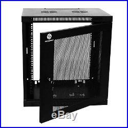 9U Wall Mount Network Equipment Server Data Cabinet Enclosure Rack Glass Door