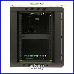 9U Wall Mount Network Server 19 Cabinet Rack Enclosure Door Lock With Shelves