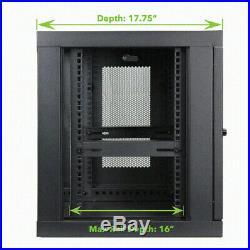 9U Wall Mount Network Server 19 Inch Cabinet Rack Enclosure Perforated Door Lock
