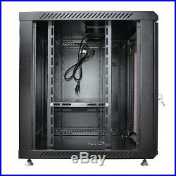 9U Wall Mount Network Server Data Cabinet 18 Inch Deep Rack Enclosure with Bonus