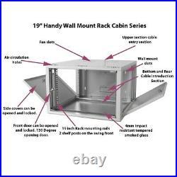 9U Wall Mount Network Server Data Cabinet Enclosure Rack Glass Door Lock