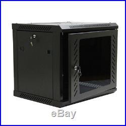 9U Wall Mount Network Server Data Cabinet Enclosure Rack Glass Door Lock with Fan