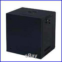 9U Wall-Mounted IT Network Server Data Cabinet Enclosure Rack With Glass Door
