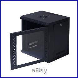 Black Network Server Data Cabinet Enclosure Rack Glass Door Locking Wall Mount