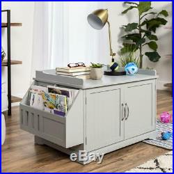 Cat Litter Box Wood Enclosure Cabinet & Side Table with Magazine Rack