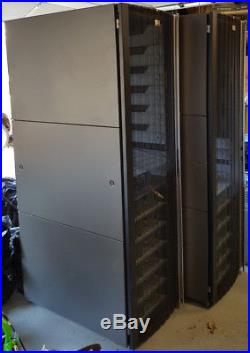 HP 42U Server Rack Cabinet Enclosures including mounted powerstrips and (2) PDUs
