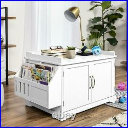 Large Wooden Cat Litter Box Enclosure Cabinet and Side Table with Magazine Rack