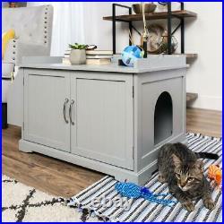 Large Wooden Indoor Hidden Cat Litter Box Enclosure-Cabinet-Book Rack-Bench Pet