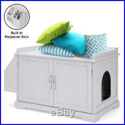 NEW Large Wooden Cat Litter Box Enclosure Cabinet & Side Table with Magazine Rack