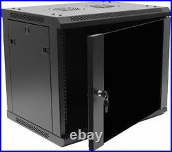 NEW Navepoint Deluxe 9U Wall Mount Network 19 Cabinet Rack Enclosure Glass Door