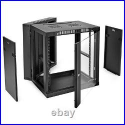 NavePoint 12U Wall-Mount Network Rack Cabinet Enclosure, 450mm Depth, Hinged