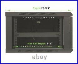 NavePoint 6U Wall Mount Network Server 600mm Depth Cabinet Rack Enclosure Glass