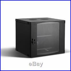 Rising 9U Wall Mount Network Server Cabinet Rack Enclosure Plexiglass Door Lock