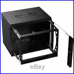 Sabrent 9U IT Wall Mount Rack Enclosure 19 Inch Black Server Cabinet CT-POWG