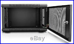 V7 RMWC6U-1N 6U Wall Mount Rack Cabinet Enclosure Fully assembled vented doo